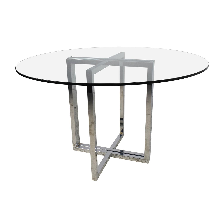 OFF CB2 CB2 Silverado Chrome Round Dining Table Tables