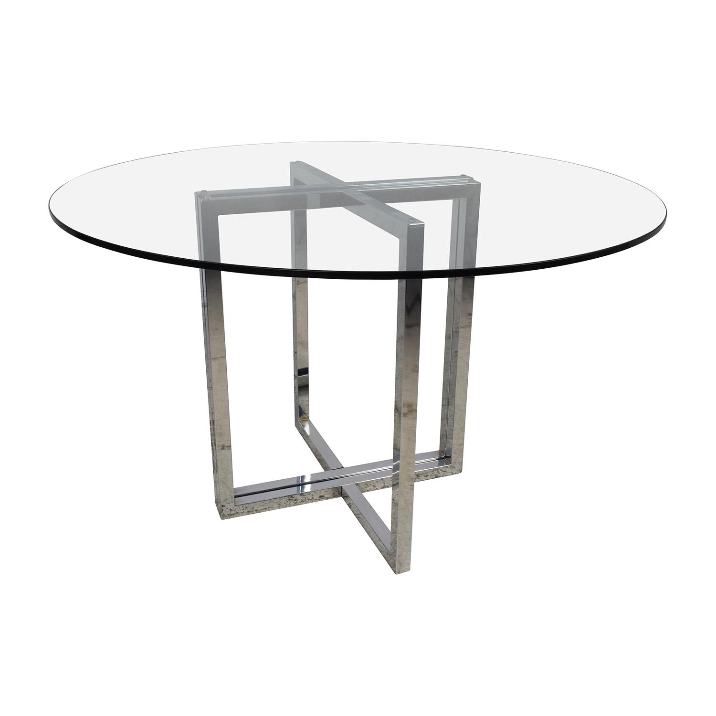 56 Off Cb2 Cb2 Silverado Chrome Round Dining Table Tables