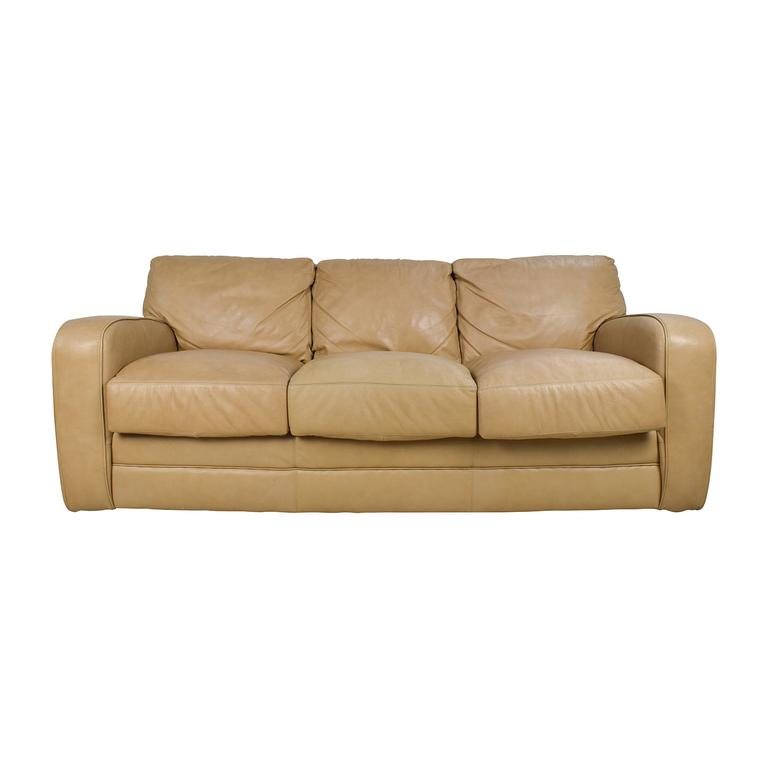 Beige Three Seat Leather Sofa discount