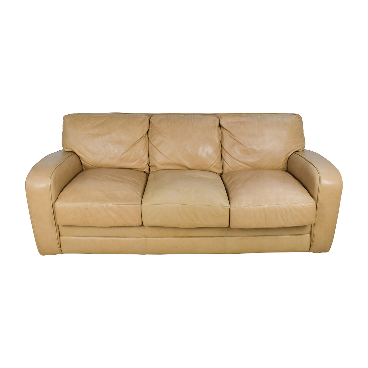 Leather Sofa Price: Beige Three Seat Leather Sofa / Sofas