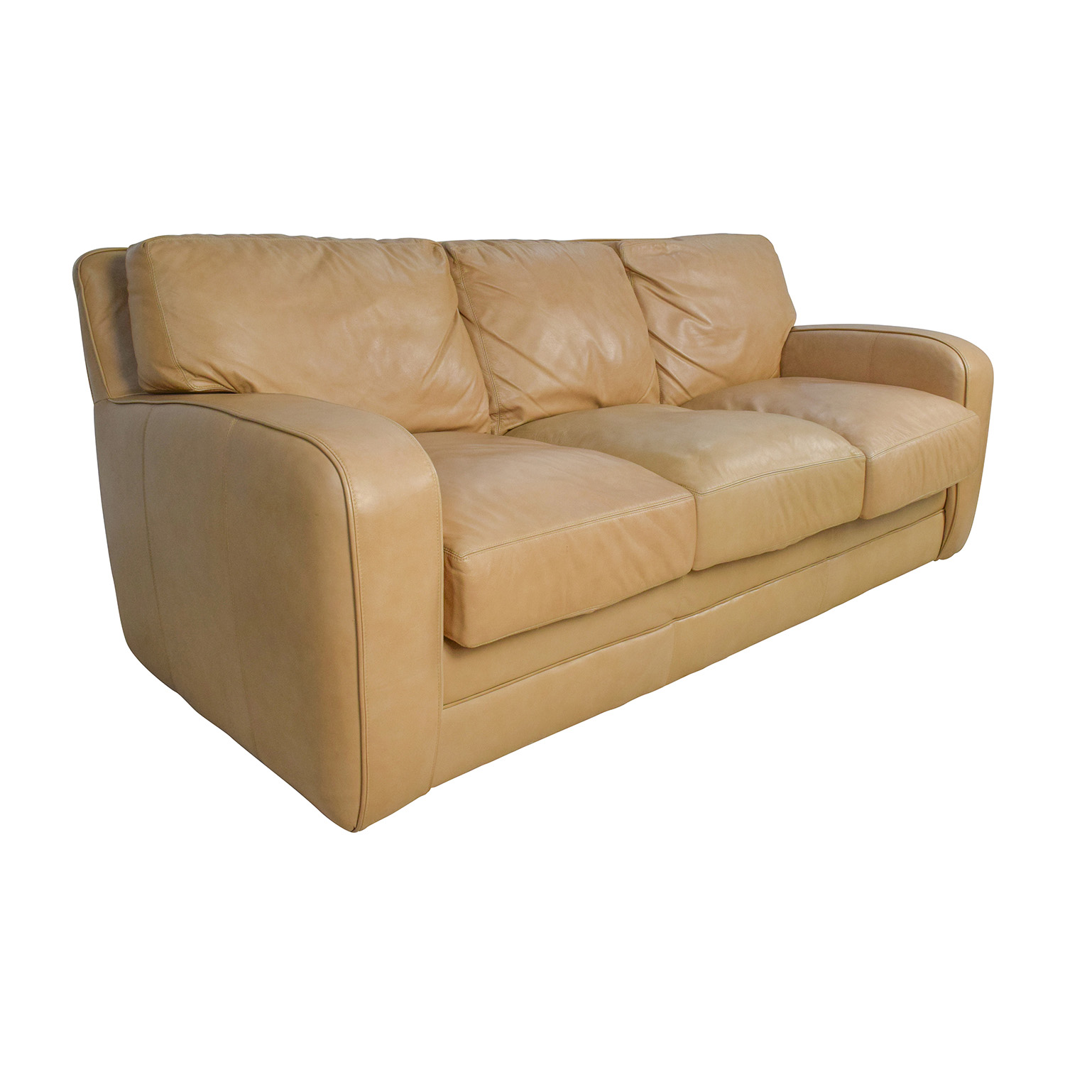 Leather Sofa Discount: Beige Three Seat Leather Sofa / Sofas