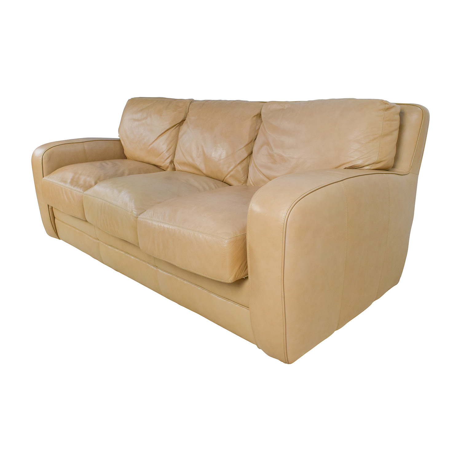 78 Off Beige Three Seat Leather Sofa Sofas