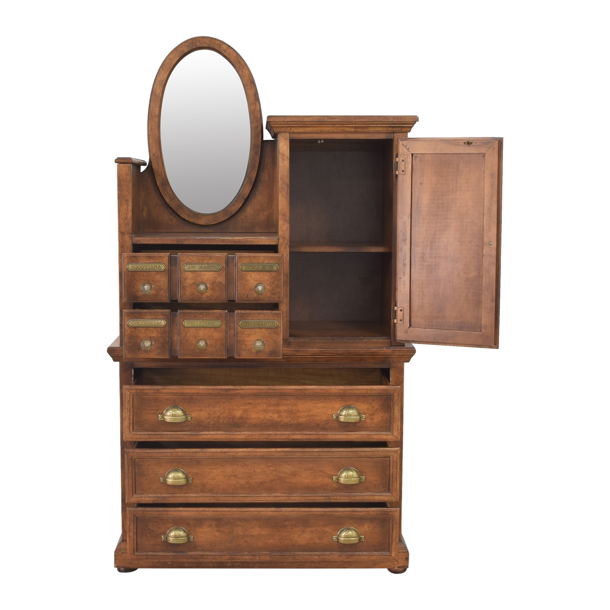 Antique Apothecary Wardrobe with Mirror