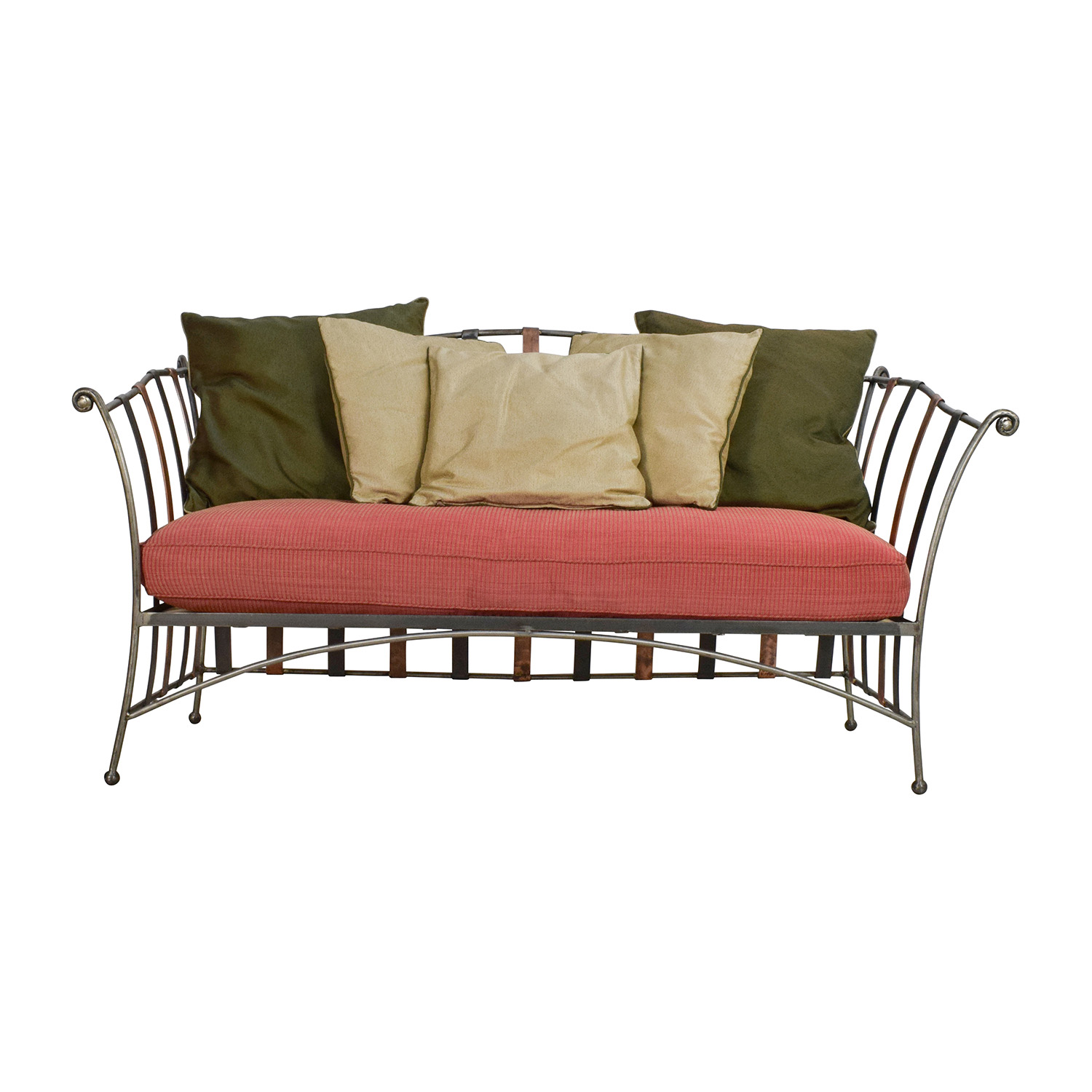 Custom Made Wrought Iron Daybed Sofa With Silk Pillows on sale