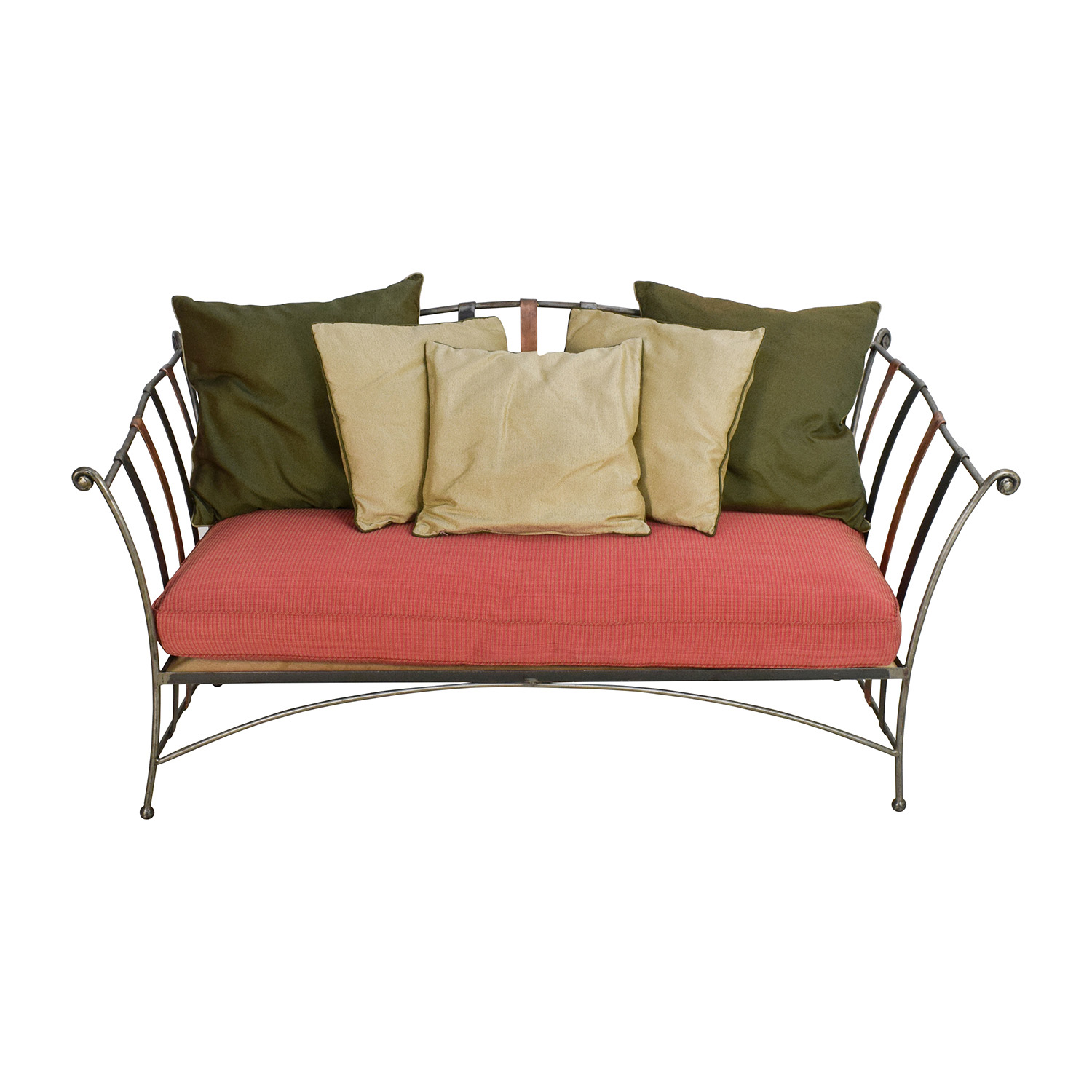 Custom Made Wrought Iron Daybed Sofa With Silk Pillows nj