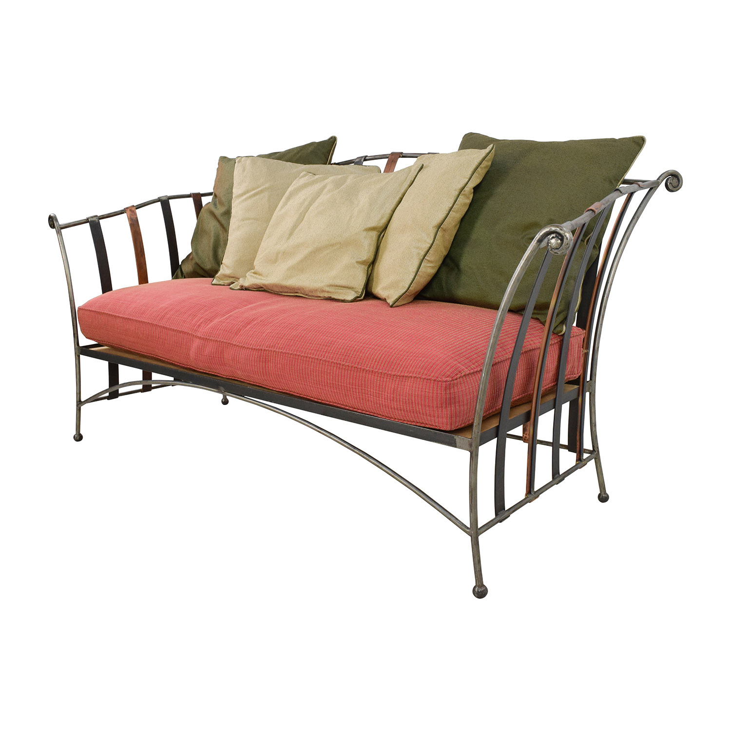 90% OFF Custom Made Wrought Iron Daybed Sofa With Silk Pillows