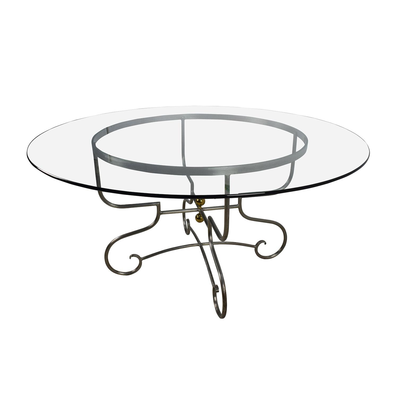 Custom Custom Glass Top Steel Base Dining Table nyc