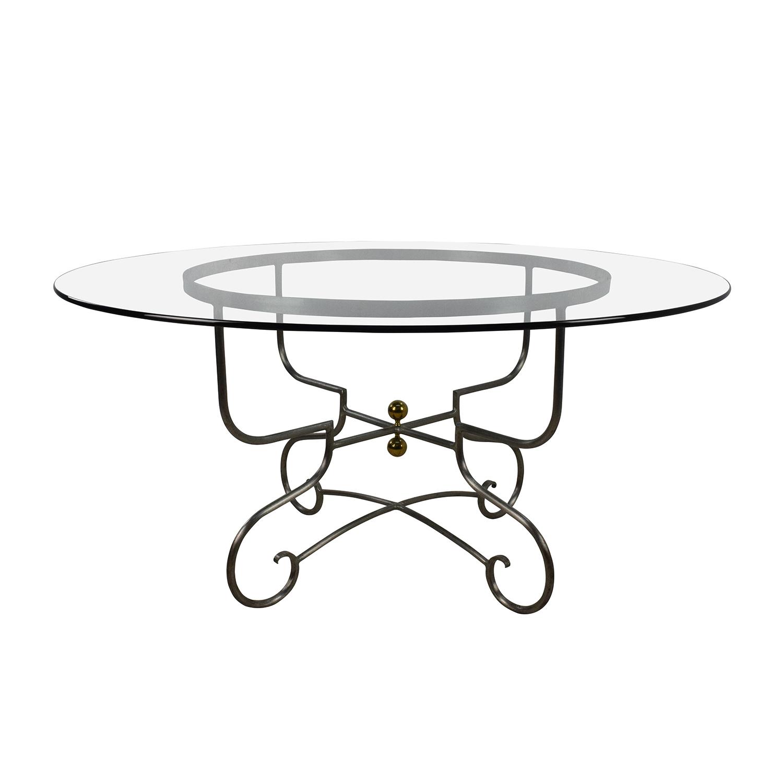 Custom Custom Glass Top Steel Base Dining Table second hand