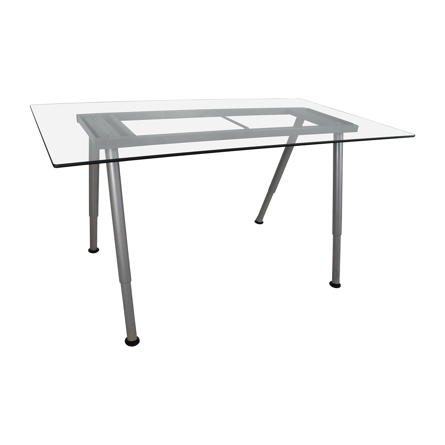 Glass Top Trestle Table With Metal Base / Tables