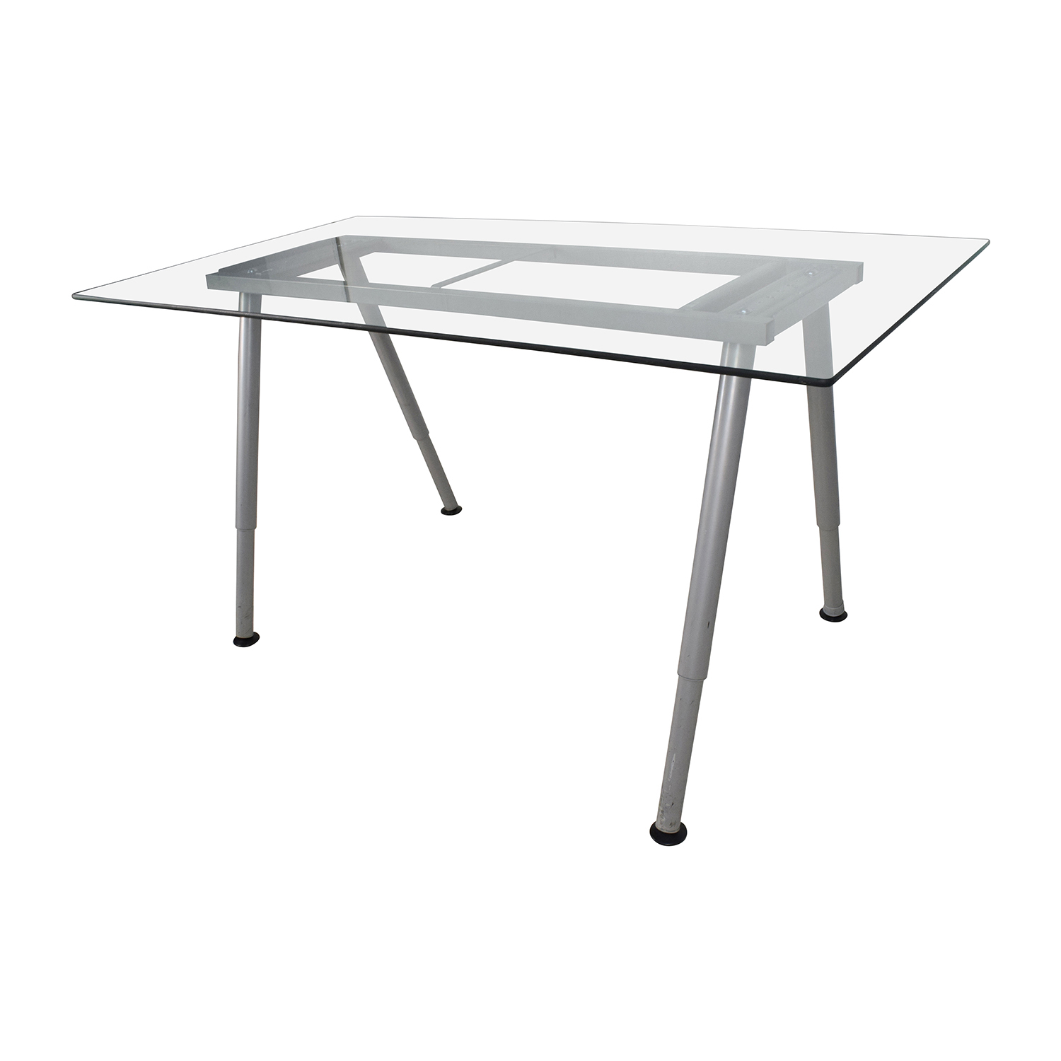 64% OFF Glass Top Trestle Table with Metal Base Tables