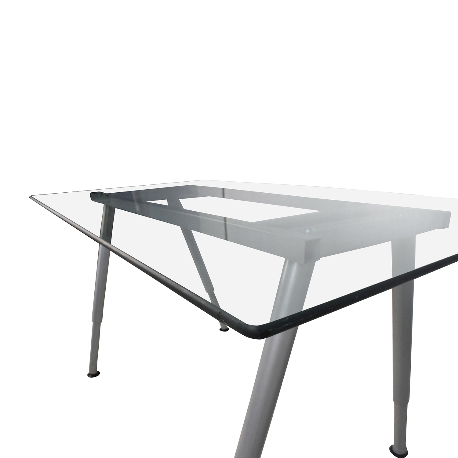 64 Off Glass Top Trestle Table With Metal Base Tables