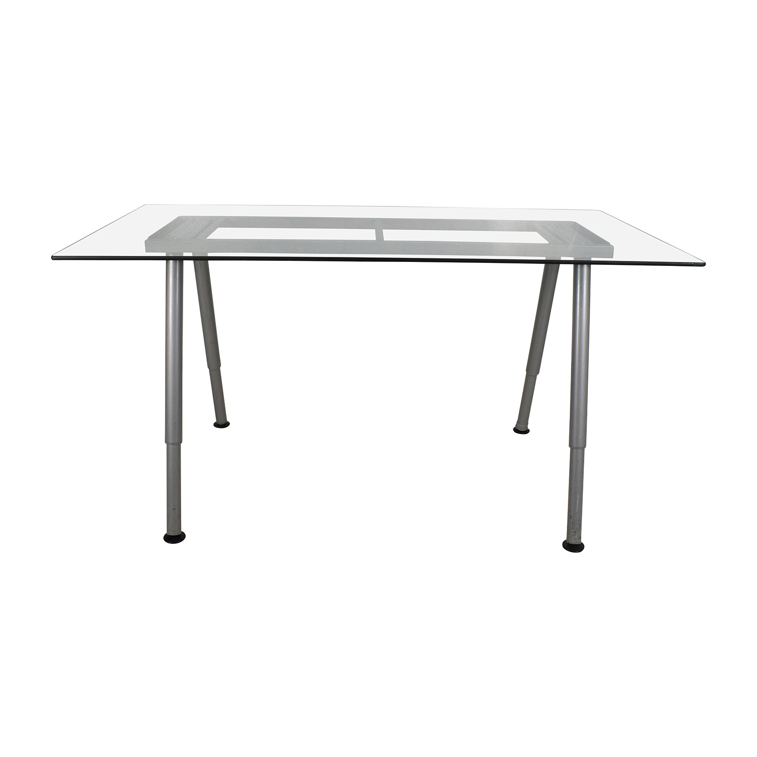 shop Glass Top Trestle Table with Metal Base Home Office Desks