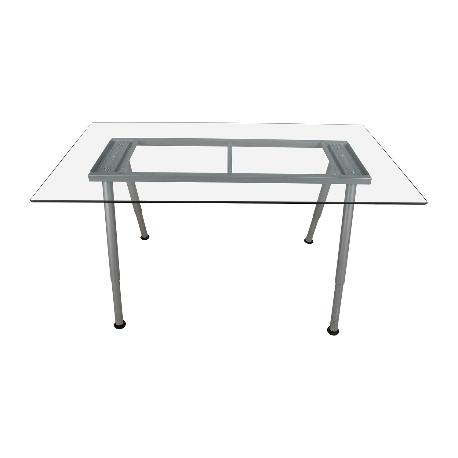 Glass Top Trestle Table with Metal Base second hand