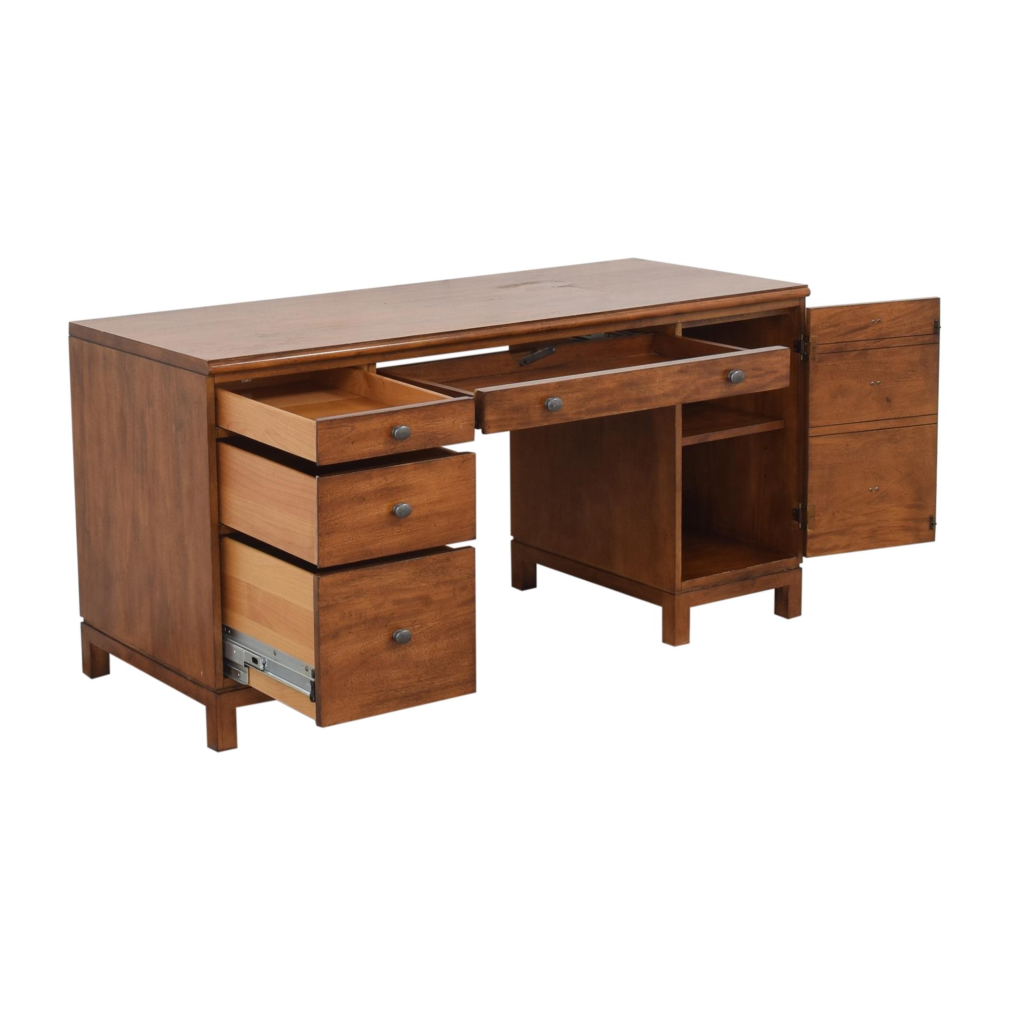 buy Ethan Allen Hawke Double Pedestal Desk Ethan Allen Home Office Desks