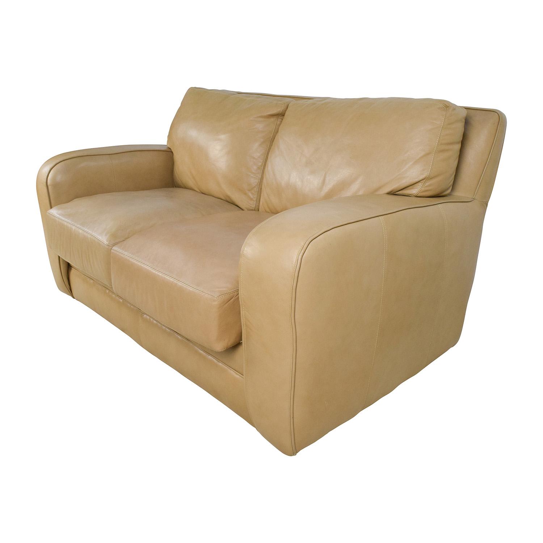Beige Leather Loveseat / Sofas