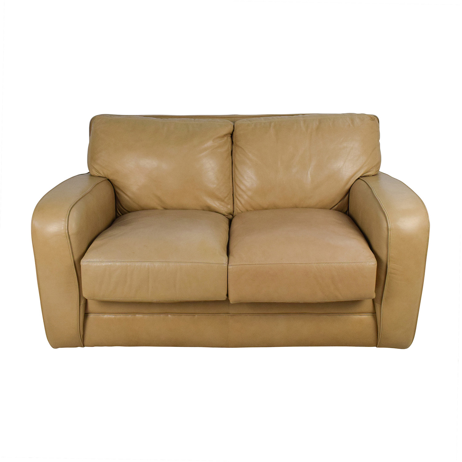 50 off beige leather loveseat sofas for Couch and loveseat