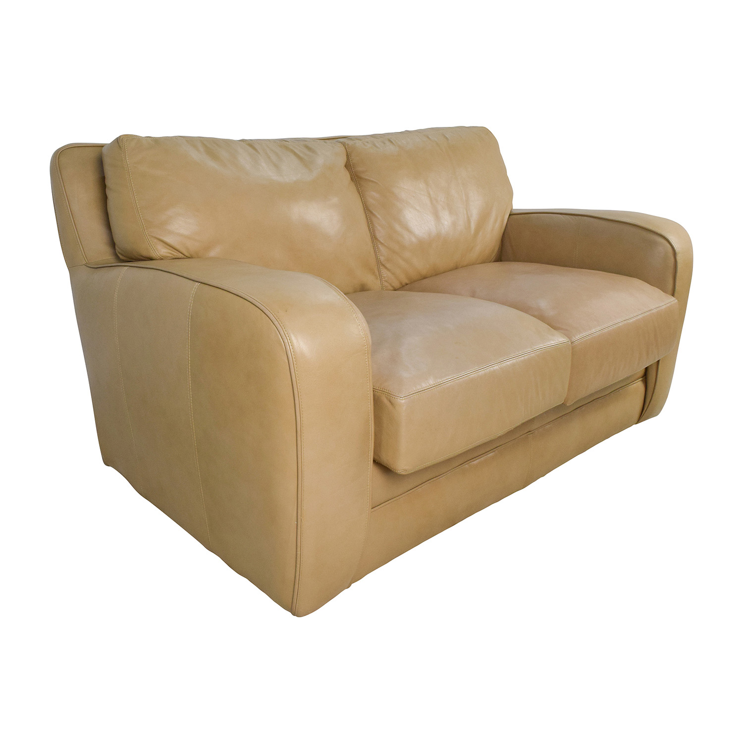 50 Off Beige Leather Loveseat Sofas