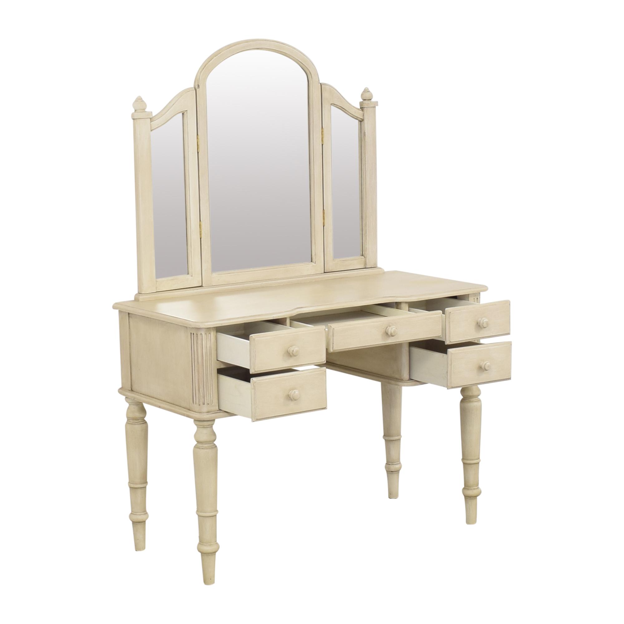 shop Ethan Allen Vanity with Tri-Fold Mirror Ethan Allen