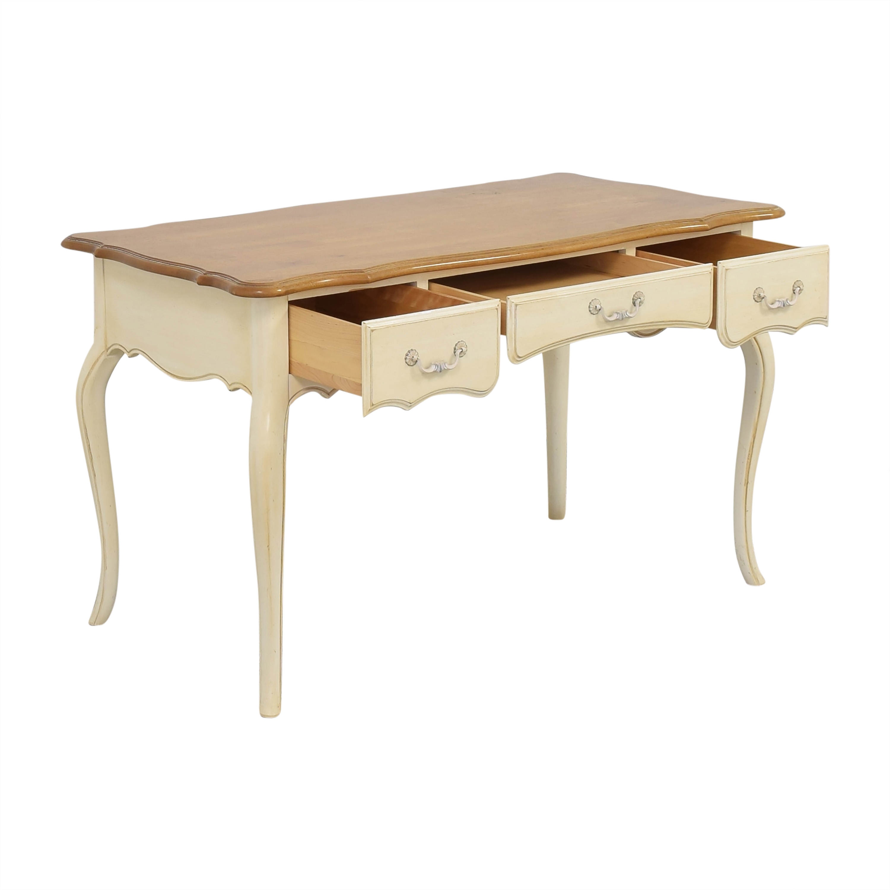 Ethan Allen French Country Three Drawer Desk / Home Office Desks