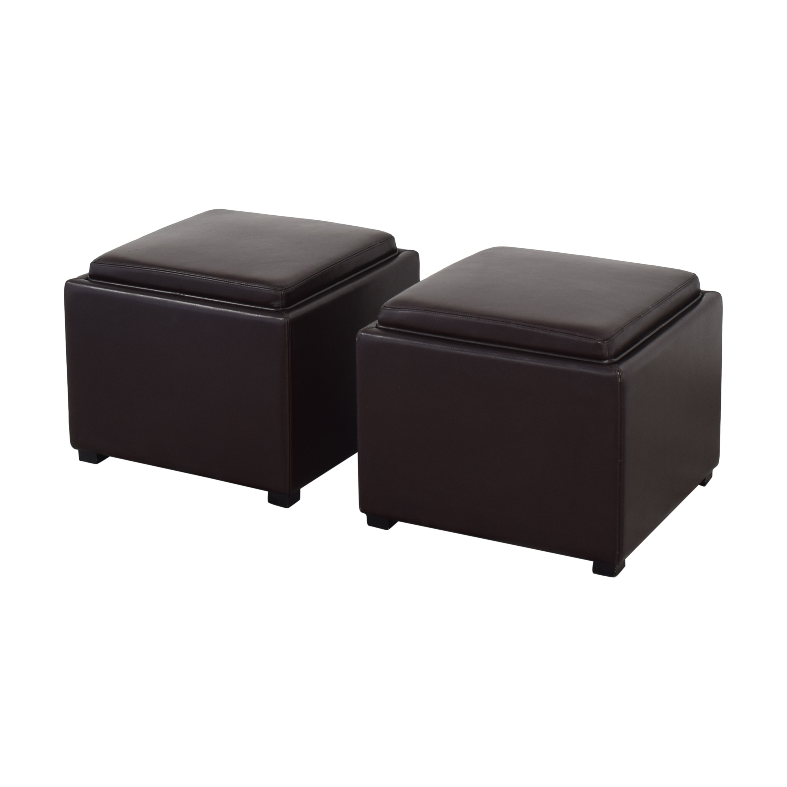 Crate & Barrel Crate & Barrel Stow Ottomans with Storage on sale