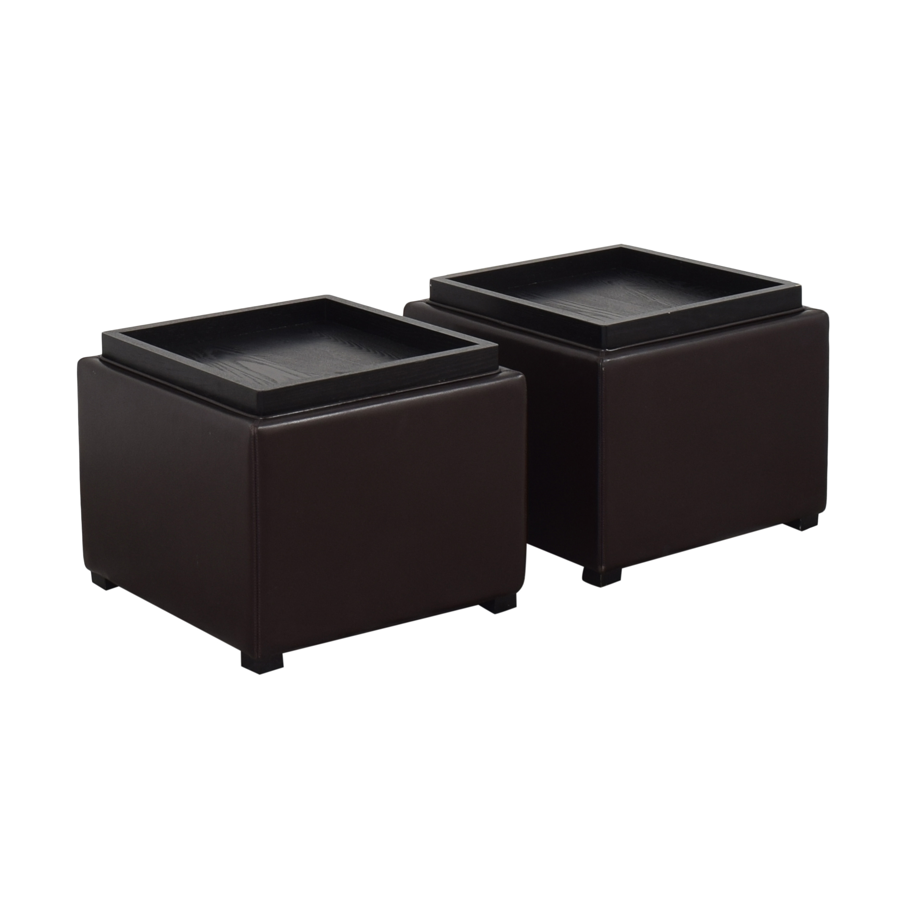 Crate & Barrel Crate & Barrel Stow Ottomans with Storage second hand