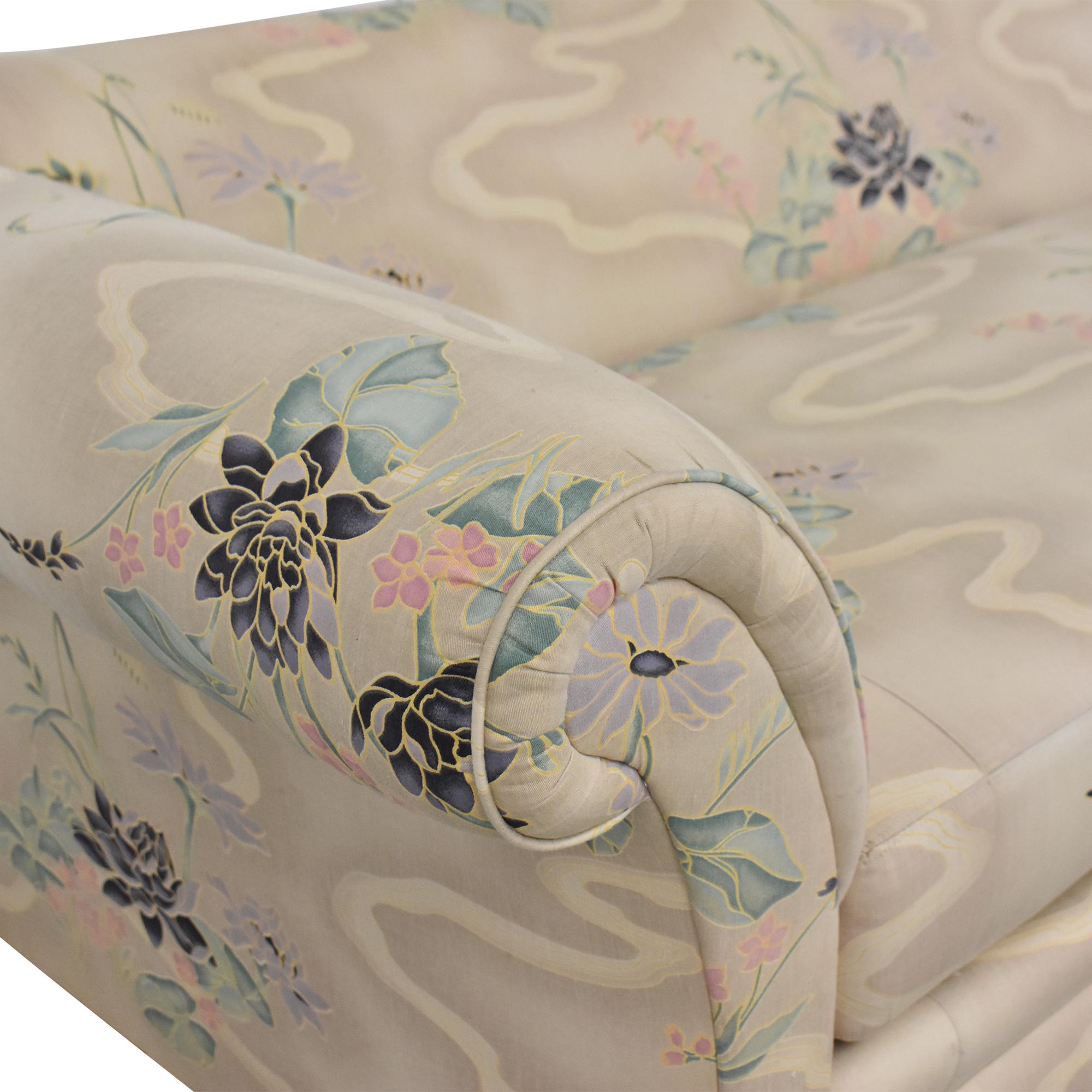 Henredon Furniture Floral Roll Arm Sofa / Sofas