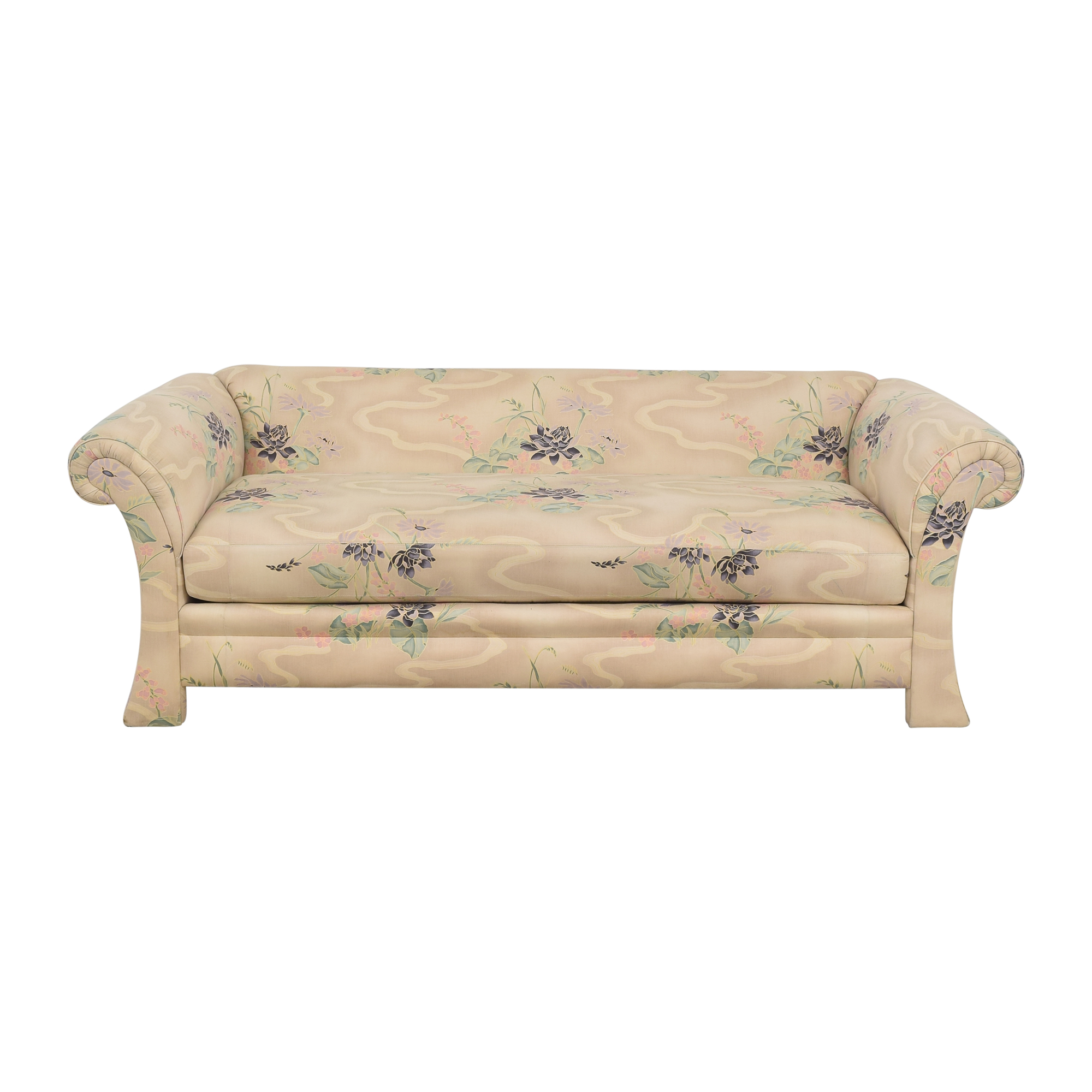 Henredon Furniture Henredon Furniture Floral Roll Arm Sofa dimensions