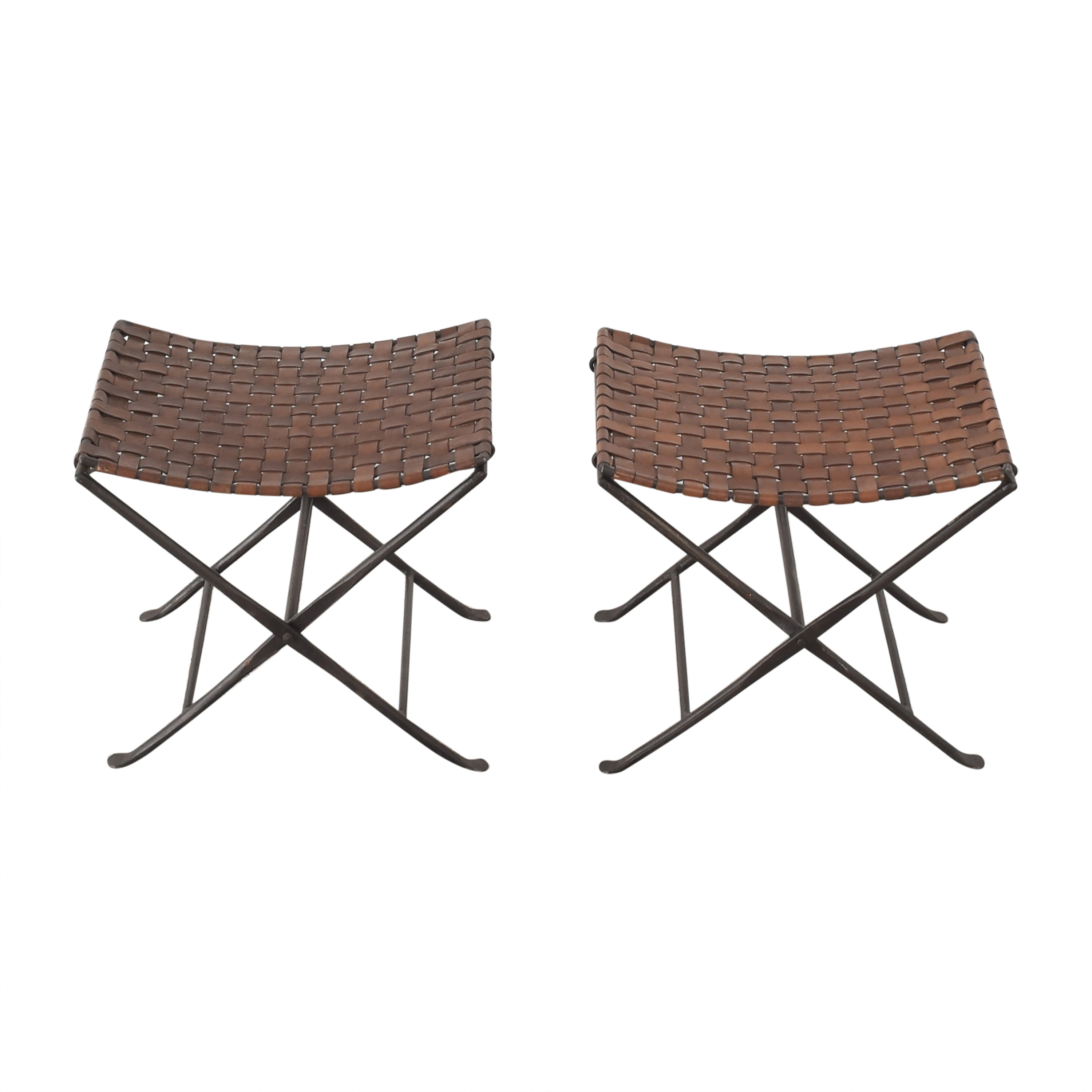 Vintage Woven Folding Stools second hand
