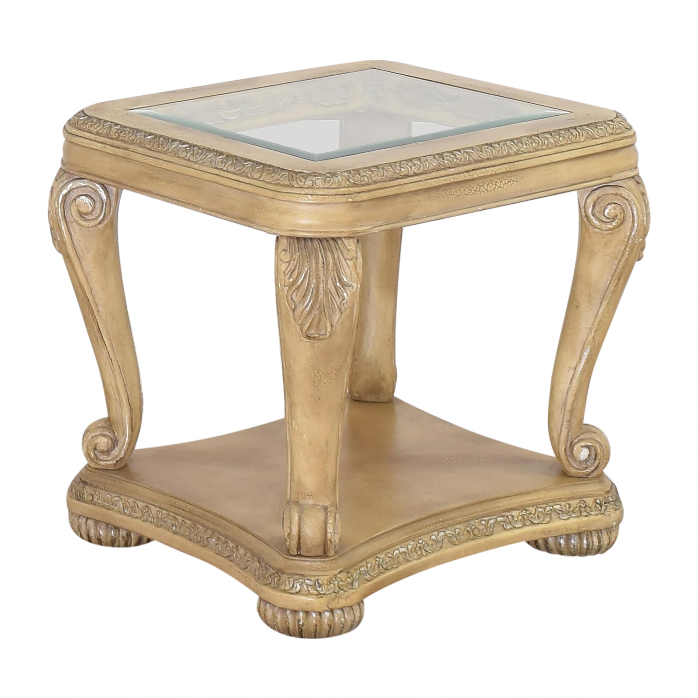 shop Levitz Levitz Carved End Table with Transparent Surface online
