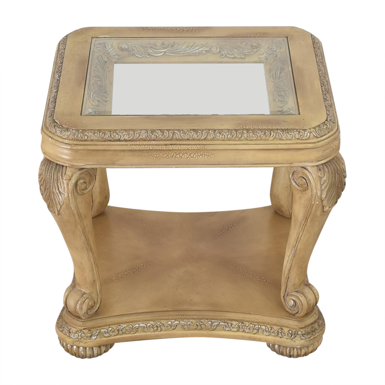 Levitz Levitz Carved End Table with Transparent Surface ct