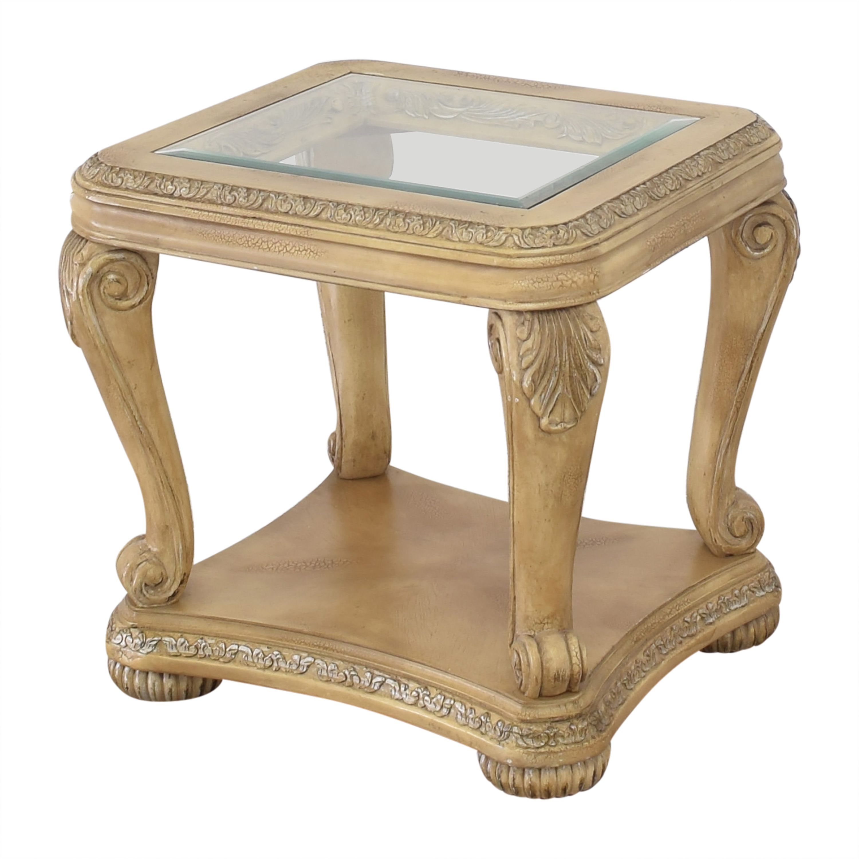 Levitz Carved End Table with Transparent Surface / Tables