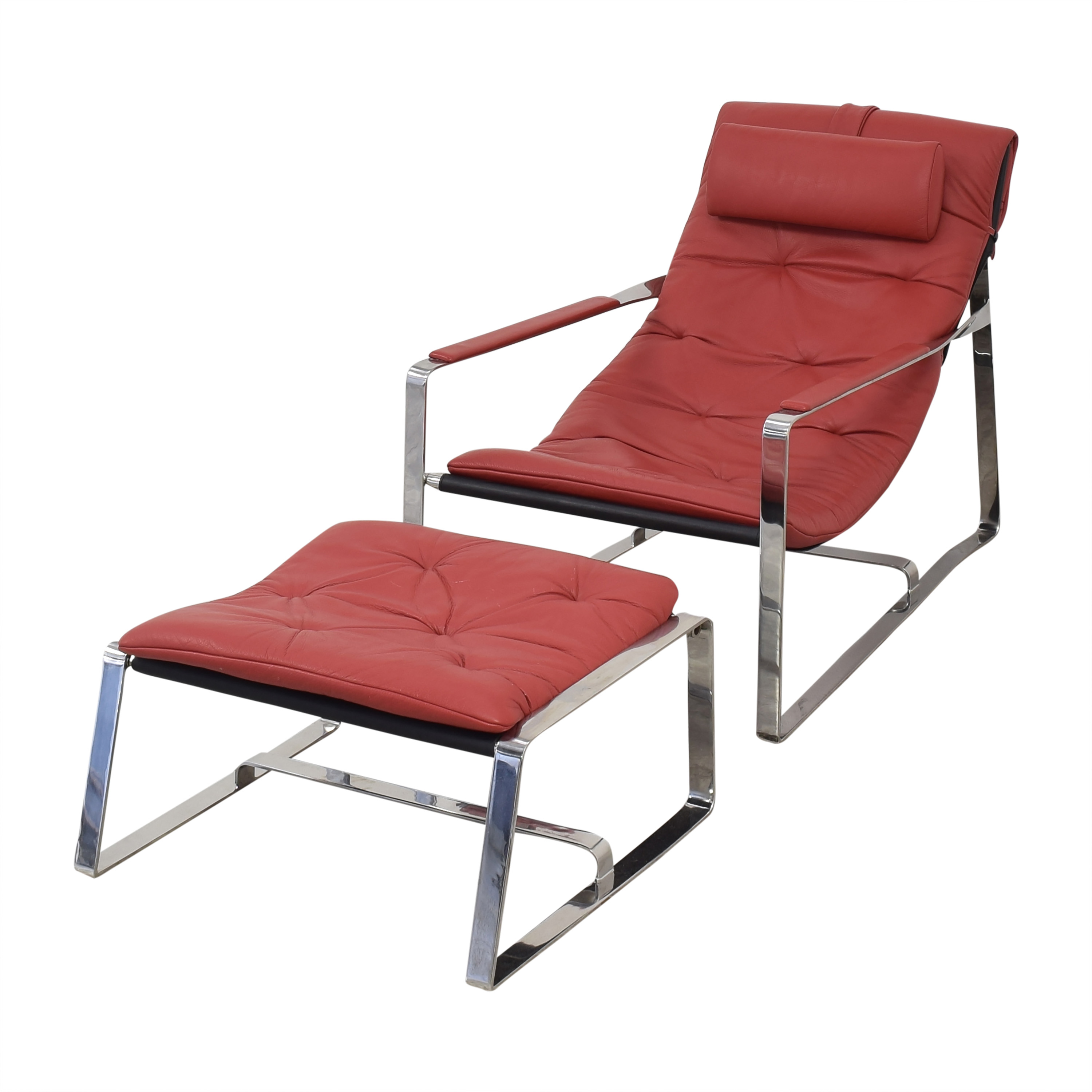 Sling Style Lounge Chair with Ottoman coupon