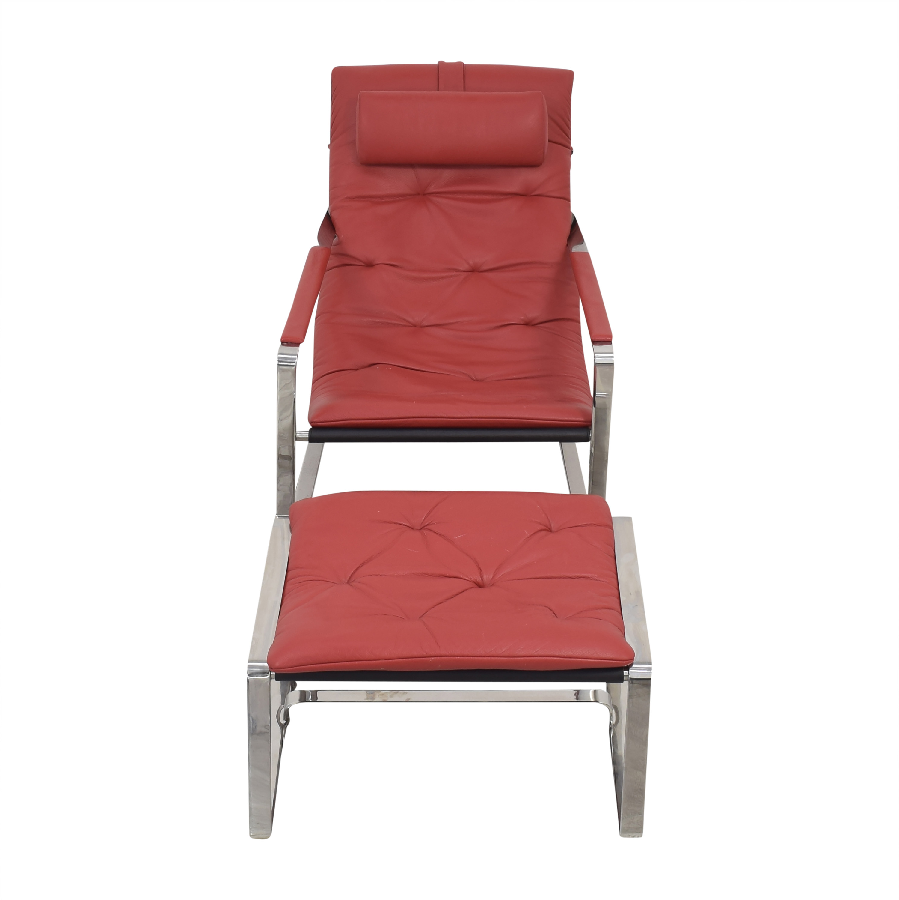 Sling Style Lounge Chair with Ottoman red and silver