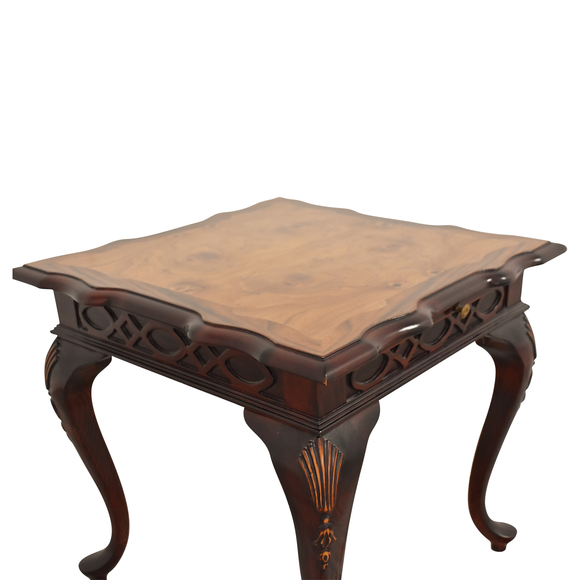 Carved End Table with Desk Extension used