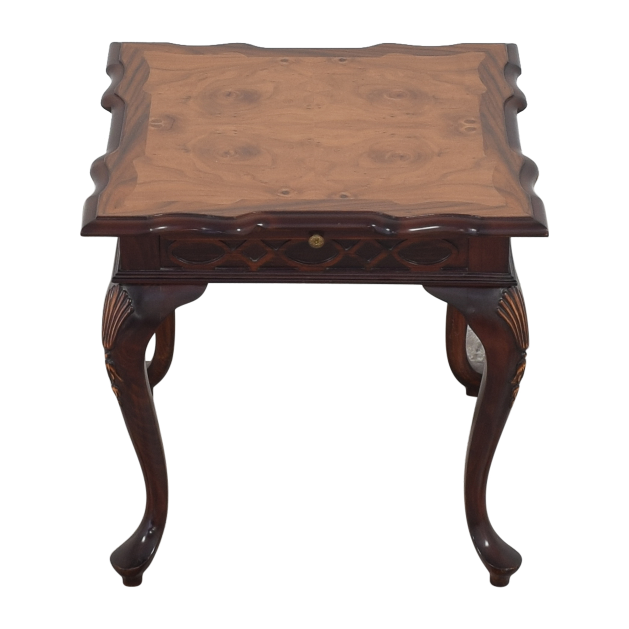 Carved End Table with Desk Extension Tables