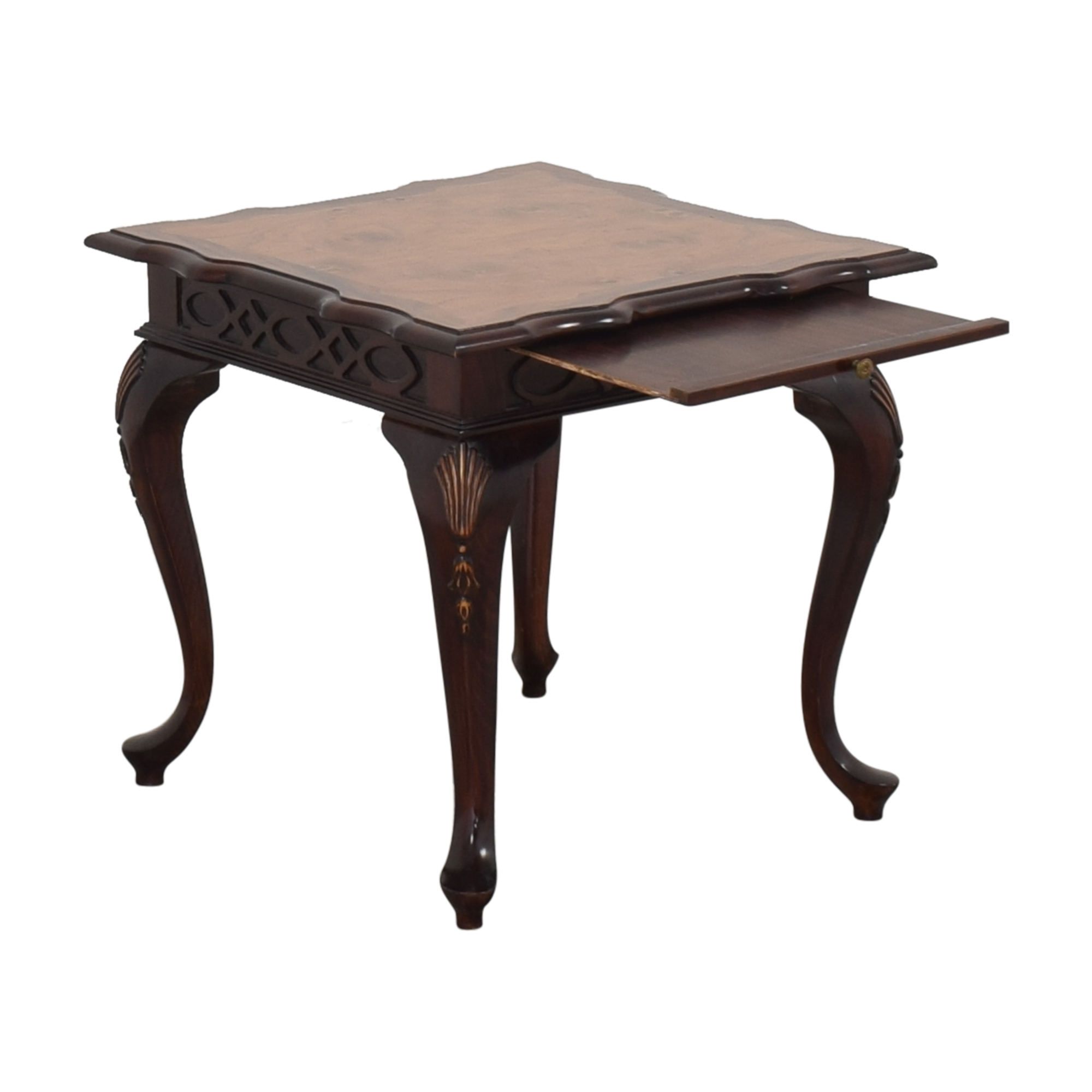 Carved End Table with Desk Extension nj