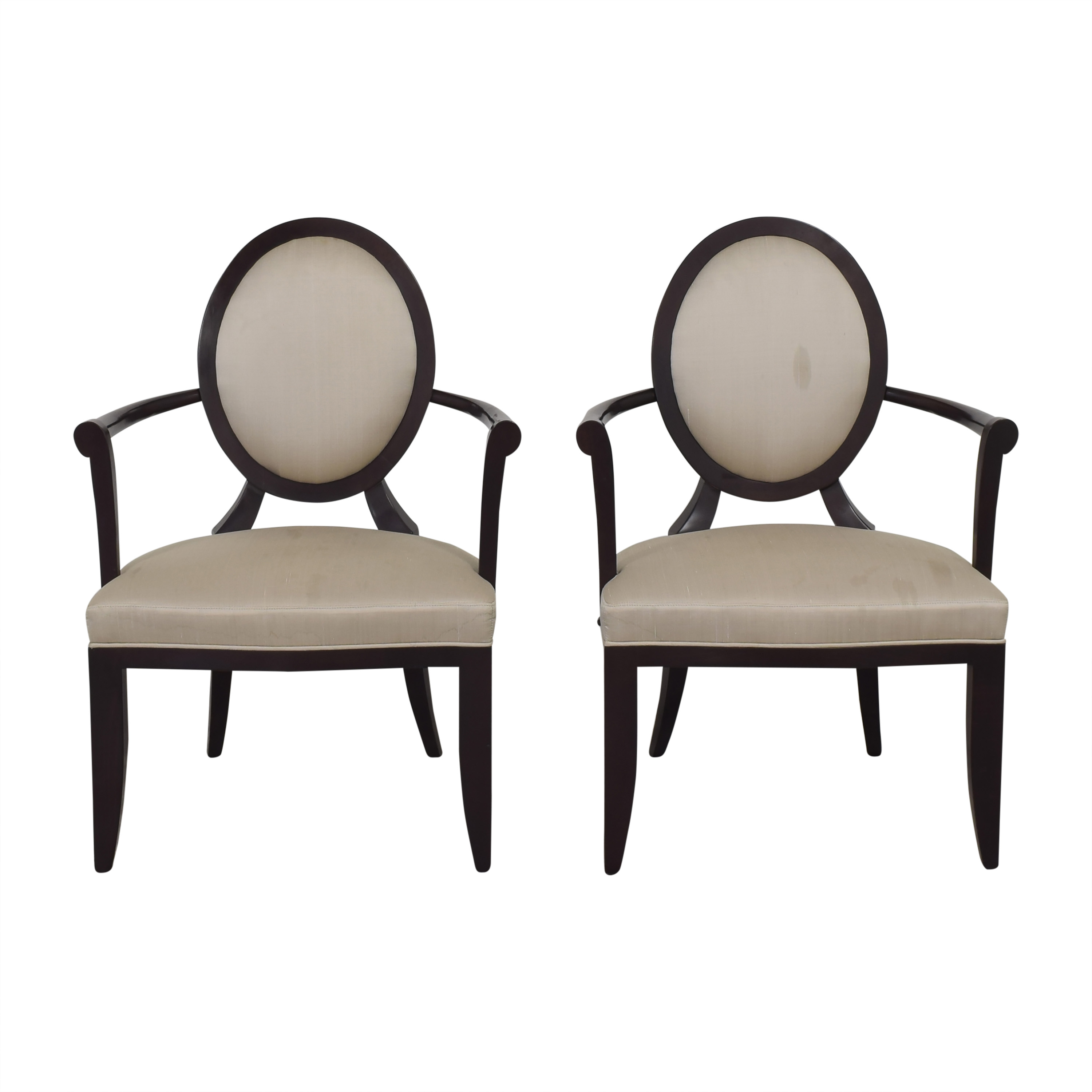 shop Baker Furniture Oval X-Back Dining Arm Chairs Baker Furniture
