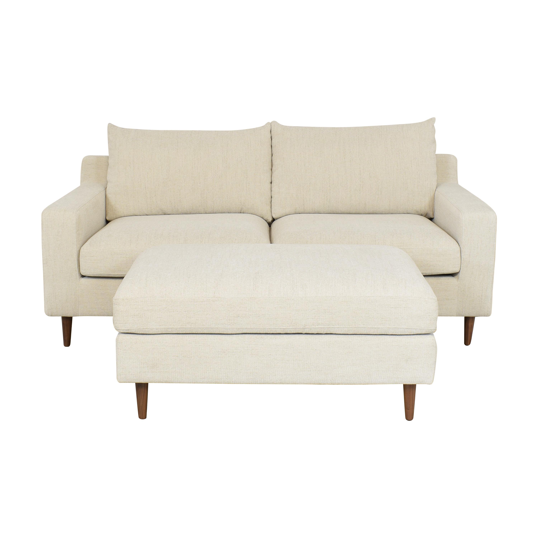 Interior Define Interior Define Sloan 2 Seat Sofa with Ottoman for sale