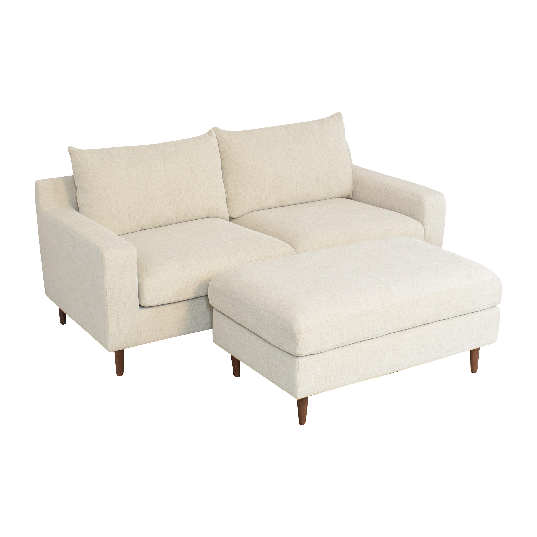 Interior Define Interior Define Sloan 2 Seat Sofa with Ottoman nj
