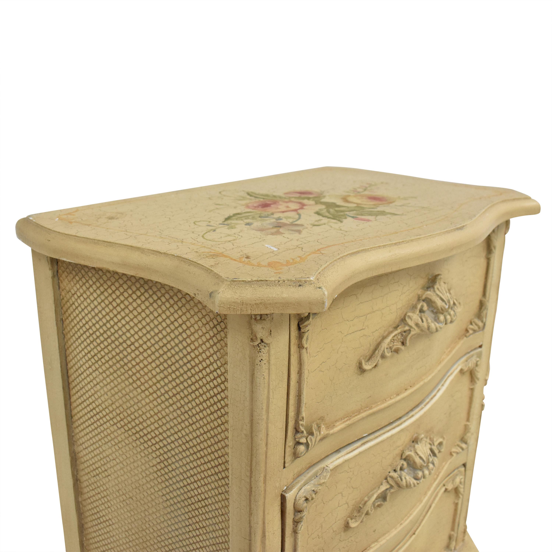 Decorative Carved Nightstand beige
