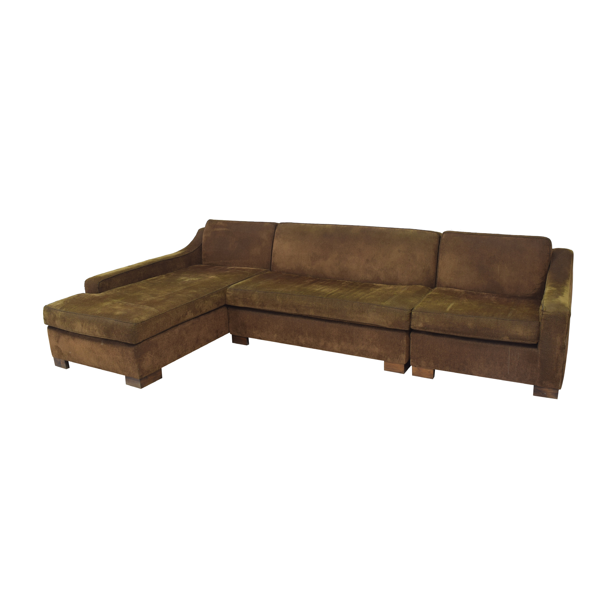 Custom Chaise Sectional Sofa with Ottoman second hand