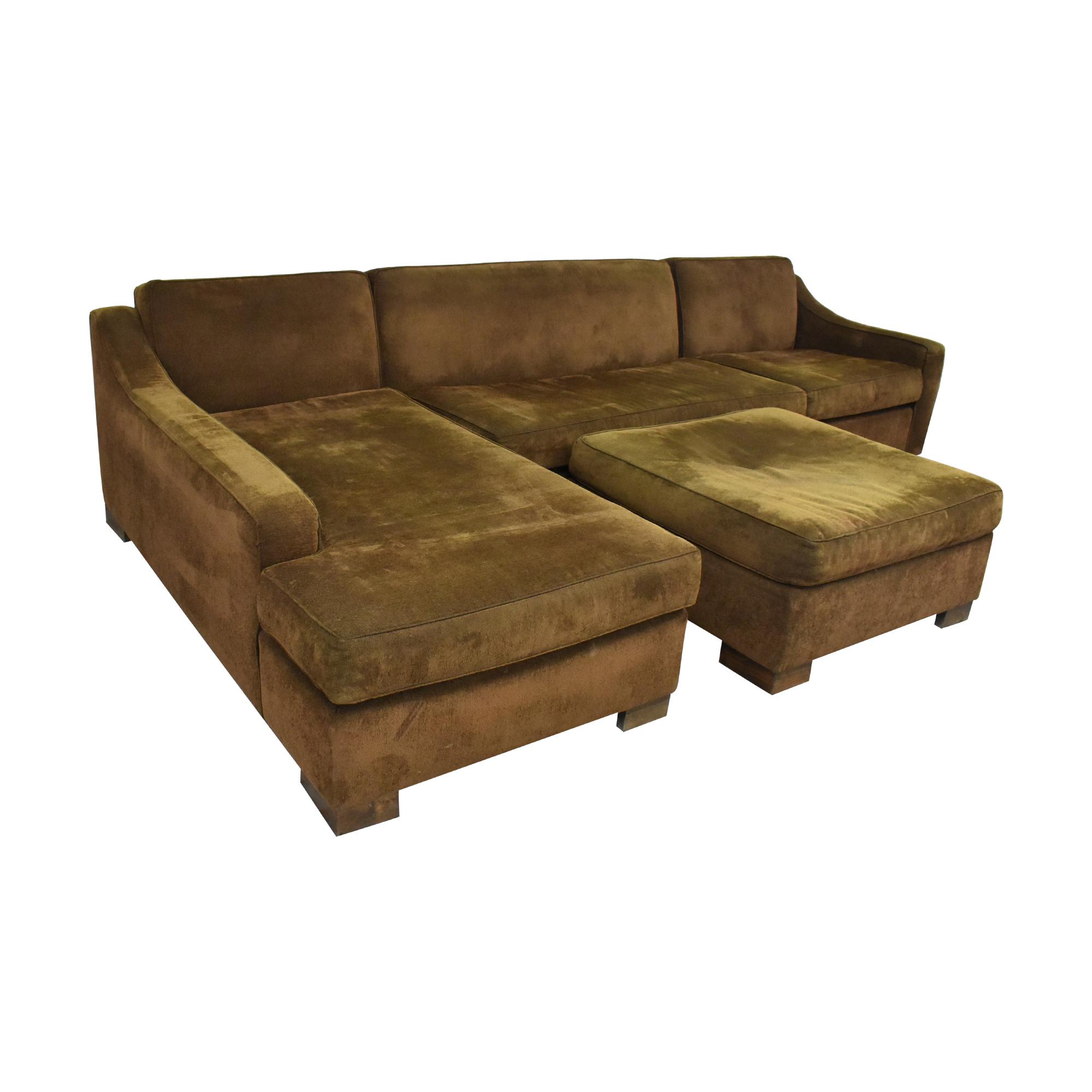 Custom Chaise Sectional Sofa with Ottoman nj