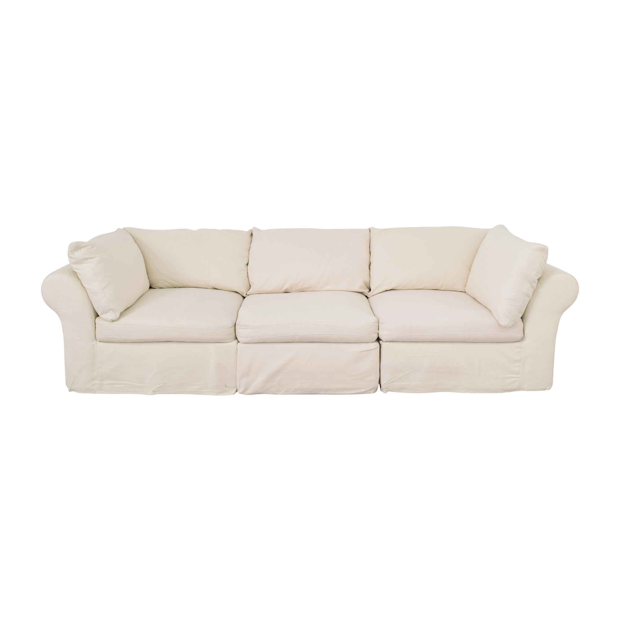 shop Pottery Barn Roll Arm Sectional Sofa with Ottoman Pottery Barn Sectionals