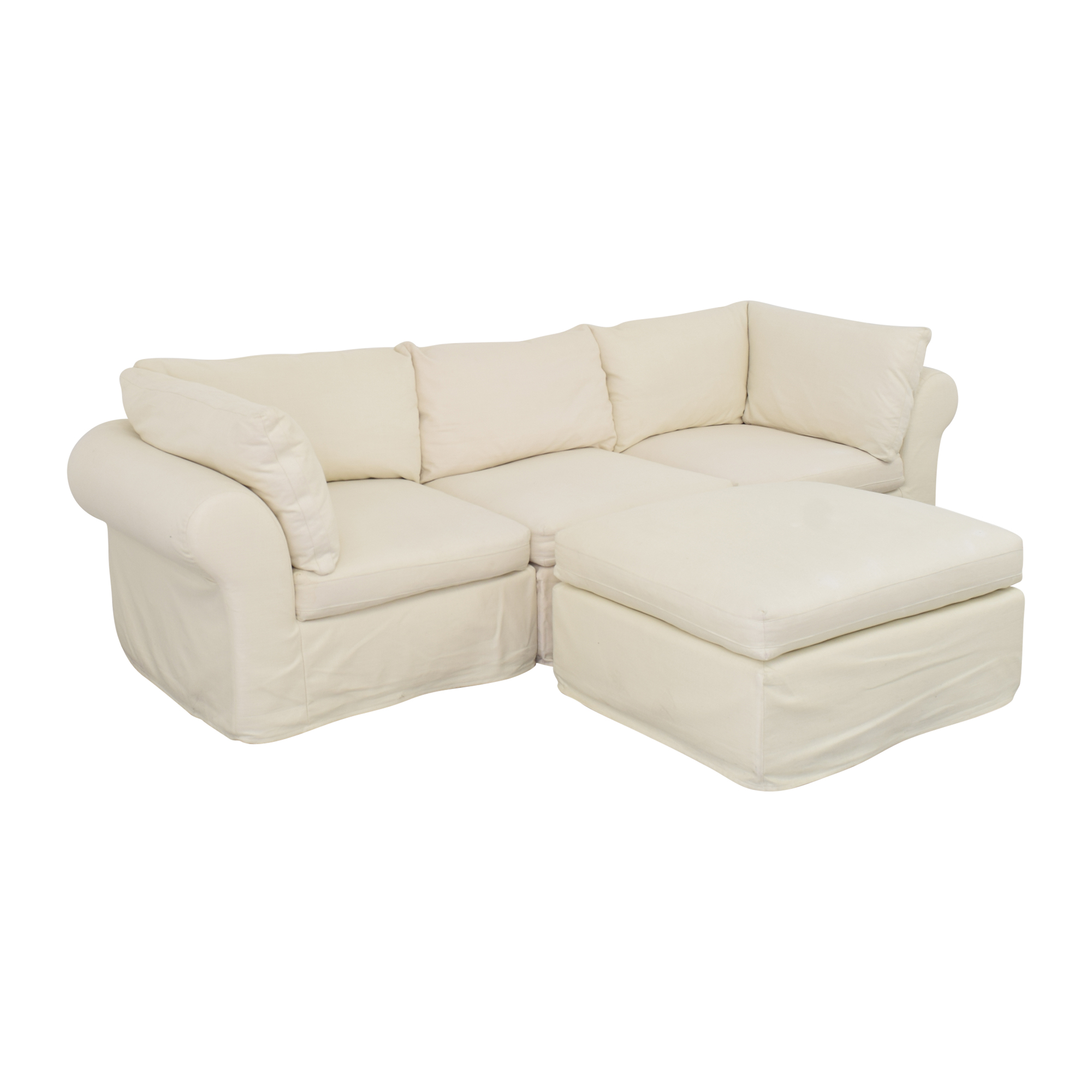 buy Pottery Barn Roll Arm Sectional Sofa with Ottoman Pottery Barn Sectionals