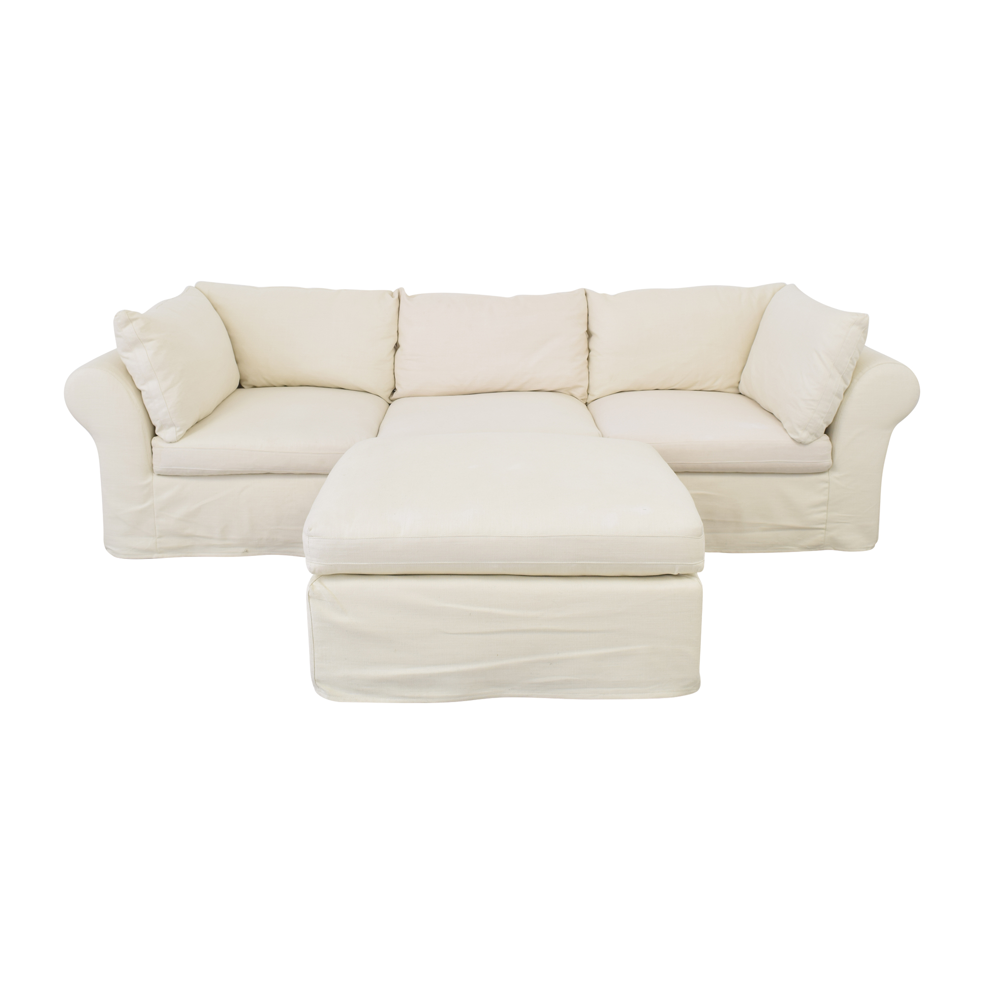 Pottery Barn Pottery Barn Roll Arm Sectional Sofa with Ottoman second hand