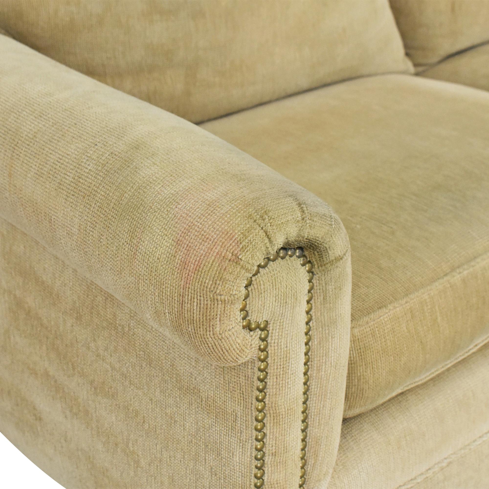 Custom L-Shaped Roll Arm Sectional Sofa tan