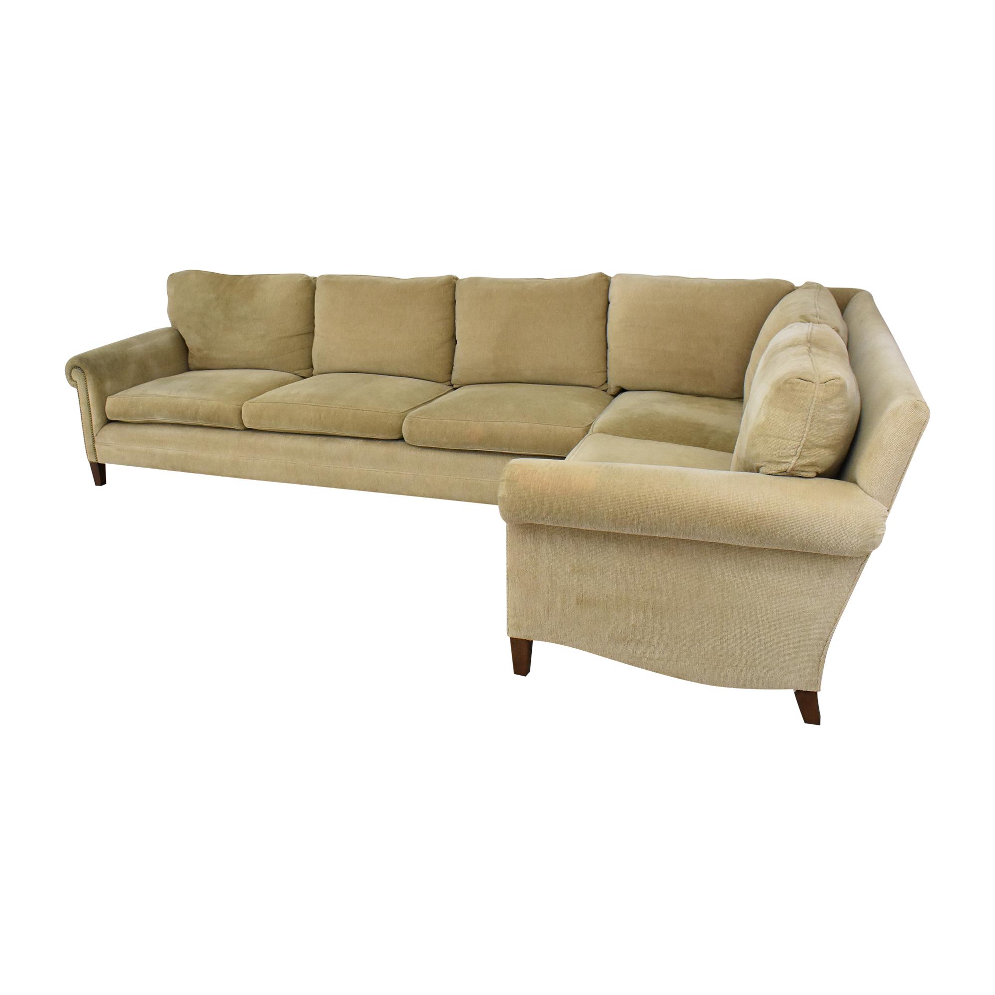 Custom L-Shaped Roll Arm Sectional Sofa ct