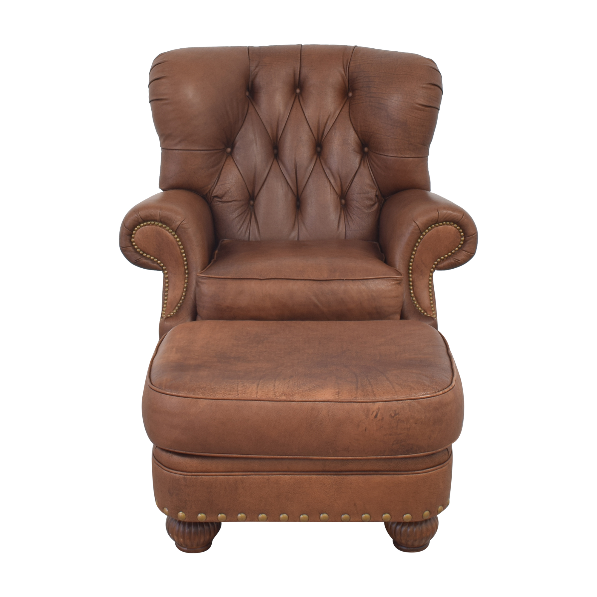 Leathercraft Leathercraft Tufted Recliner with Ottoman brown