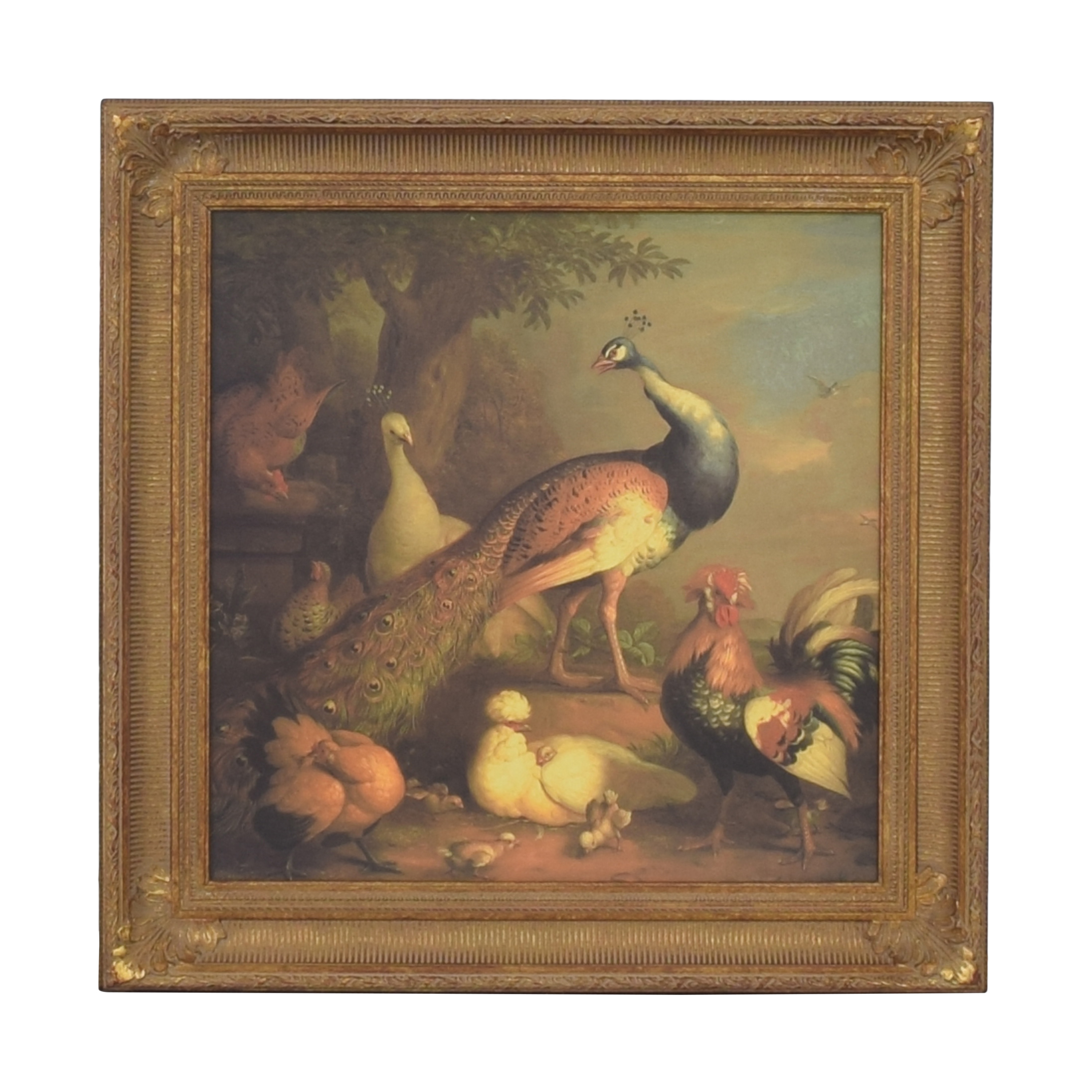 buy Ethan Allen a Peacock, a Peahen, and Poultry in a Landscape Wall Art Ethan Allen Decor