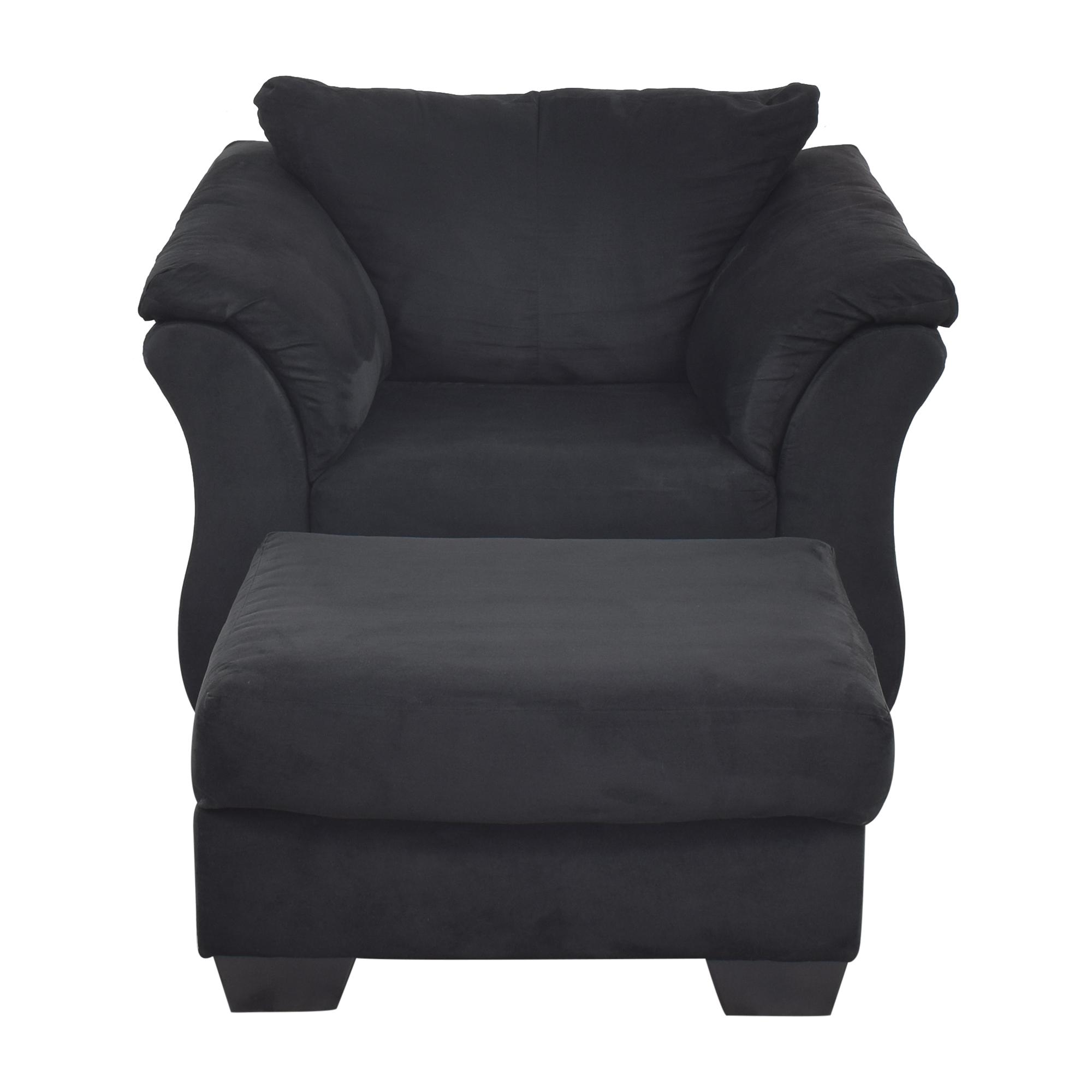 Ashley Furniture Ashley Furniture Darcy Cobblestone Chair and Ottoman nj